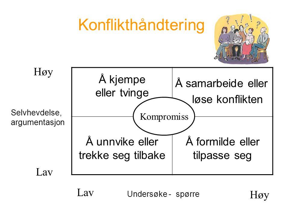 Konflikthåndtering Høy Å kjempe eller tvinge
