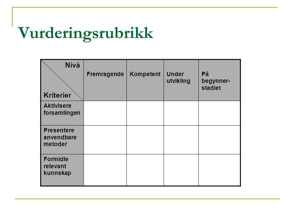 Vurderingsrubrikk Nivå Kriterier Fremragende Kompetent Under utvikling