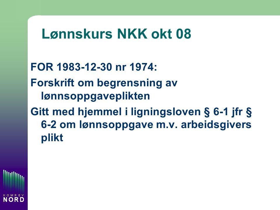 Lønnskurs NKK okt 08 FOR 1983-12-30 nr 1974: