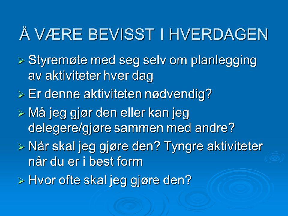 Å VÆRE BEVISST I HVERDAGEN