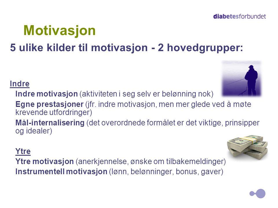 Motivasjon 5 ulike kilder til motivasjon - 2 hovedgrupper: Indre