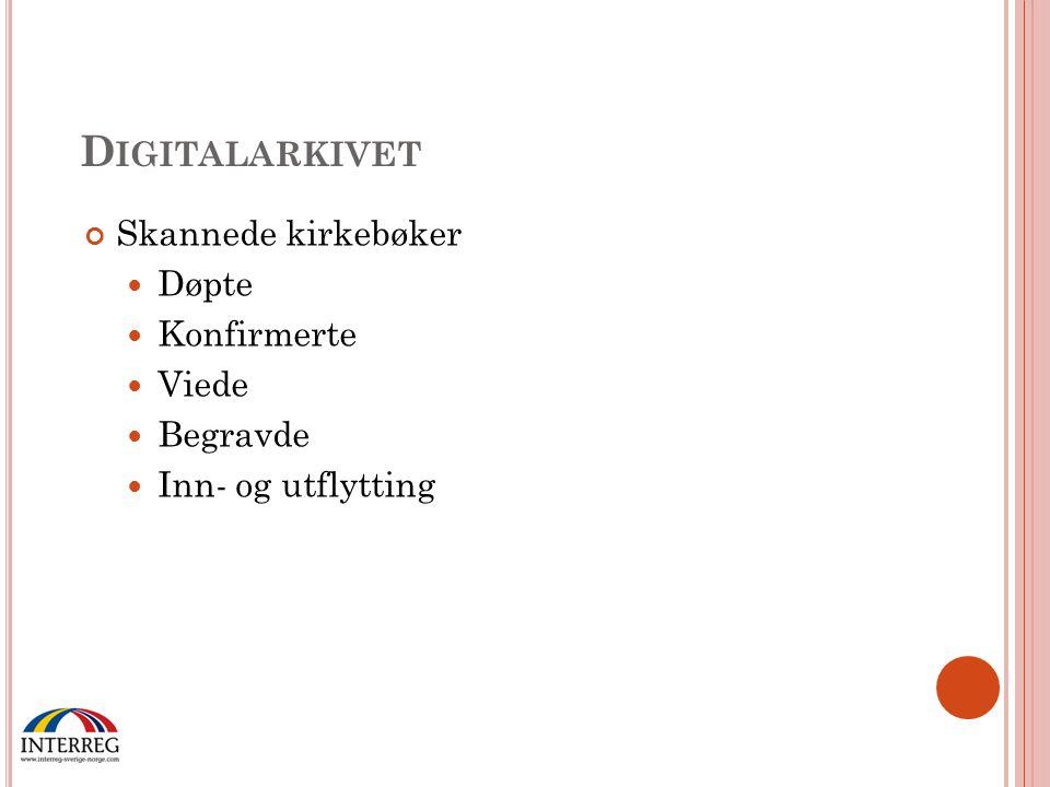 Digitalarkivet Skannede kirkebøker Døpte Konfirmerte Viede Begravde