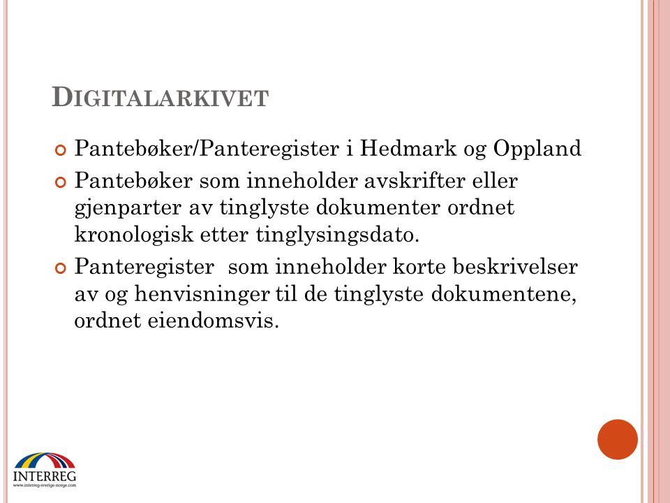Digitalarkivet Pantebøker/Panteregister i Hedmark og Oppland