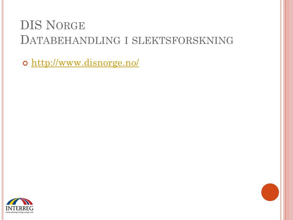 DIS Norge Databehandling i slektsforskning