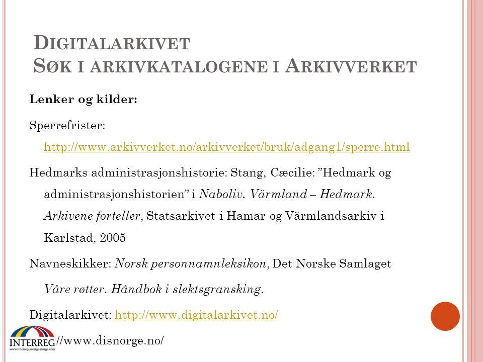 Digitalarkivet Søk i arkivkatalogene i Arkivverket