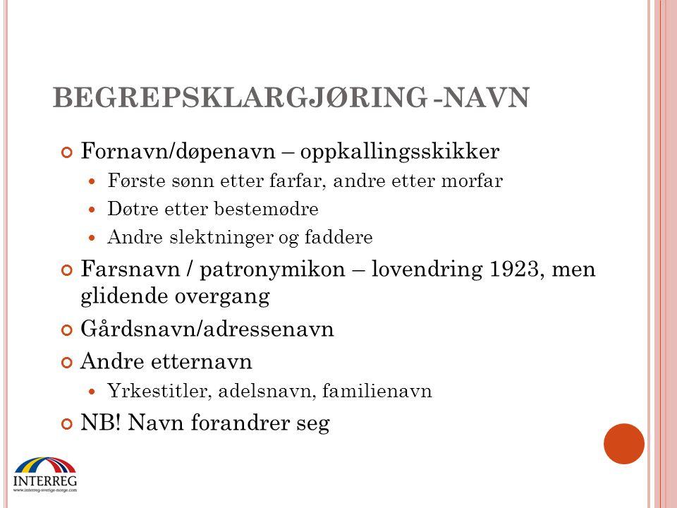 BEGREPSKLARGJØRING -NAVN