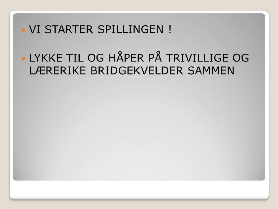 LYKKE TIL OG HÅPER PÅ TRIVILLIGE OG LÆRERIKE BRIDGEKVELDER SAMMEN