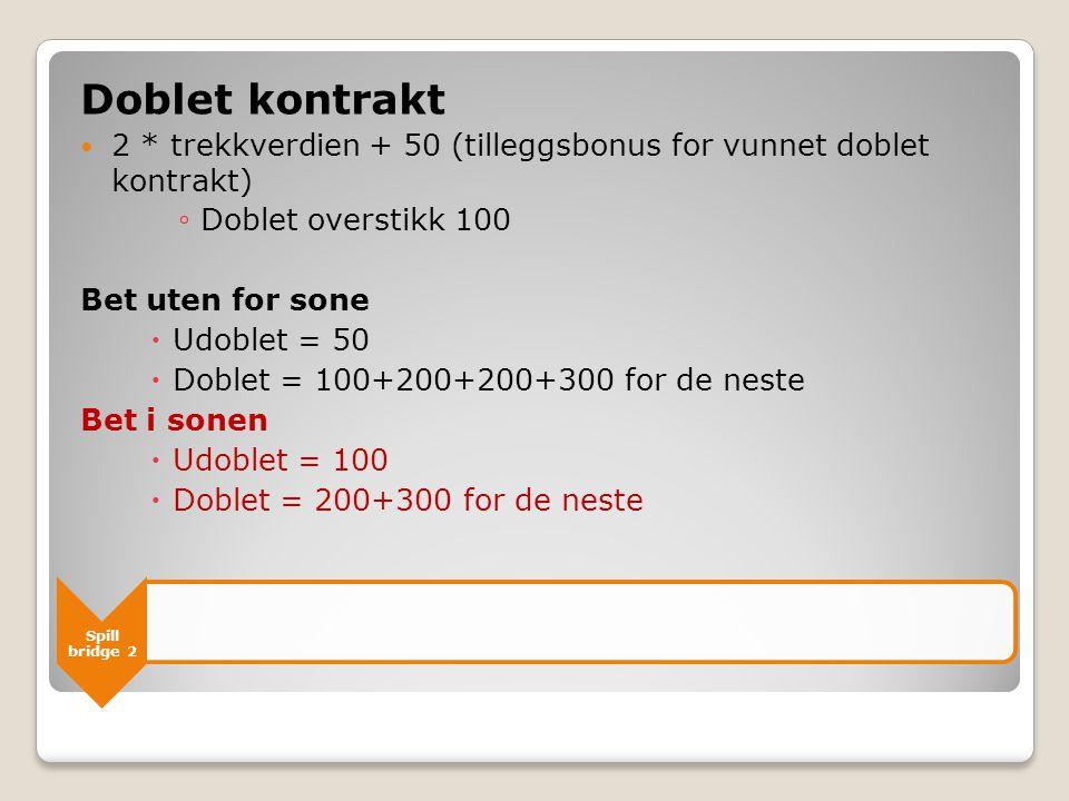 Doblet kontrakt 2 * trekkverdien + 50 (tilleggsbonus for vunnet doblet kontrakt) Doblet overstikk 100.