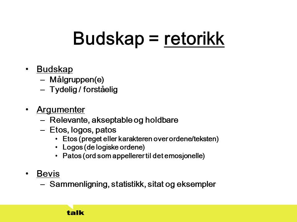 Budskap = retorikk Budskap Argumenter Bevis Målgruppen(e)