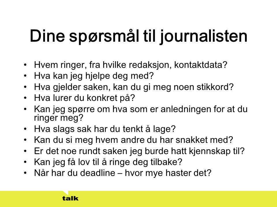 Dine spørsmål til journalisten