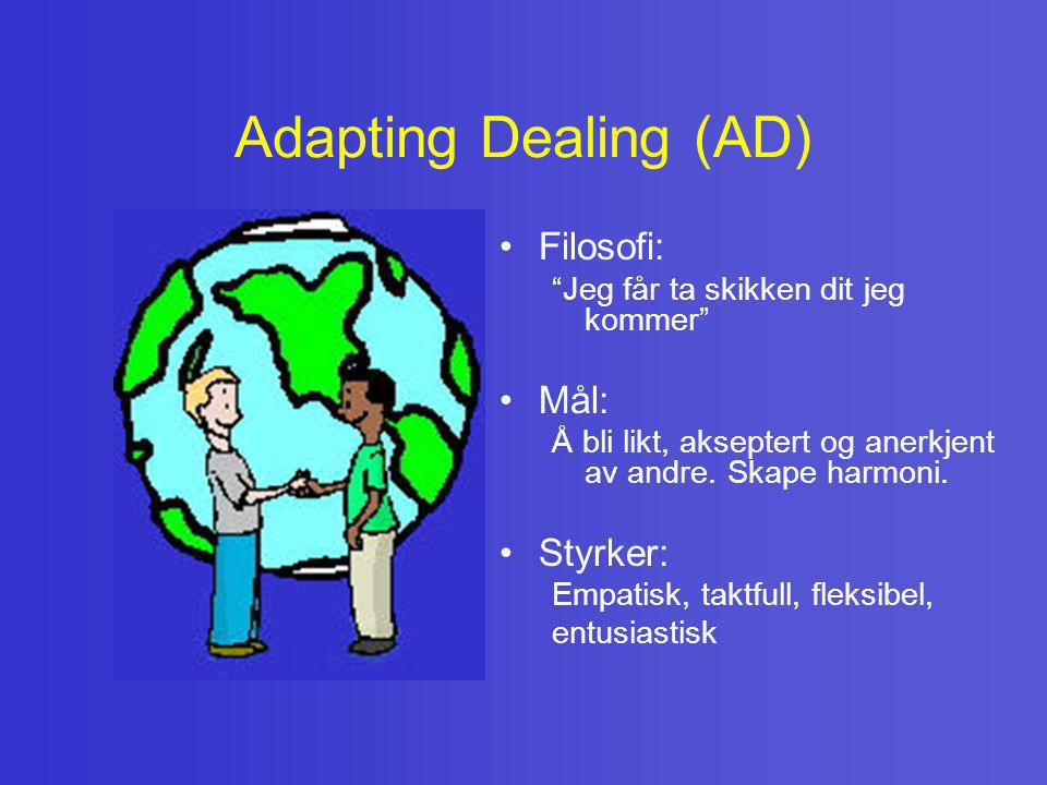 Adapting Dealing (AD) Filosofi: Mål: Styrker: