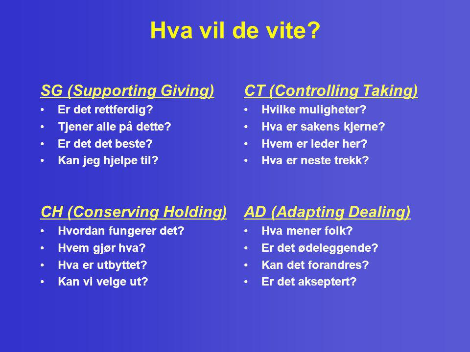 Hva vil de vite SG (Supporting Giving) CT (Controlling Taking)