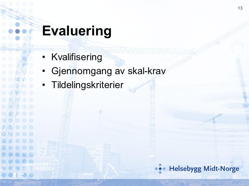 Evaluering Kvalifisering Gjennomgang av skal-krav Tildelingskriterier