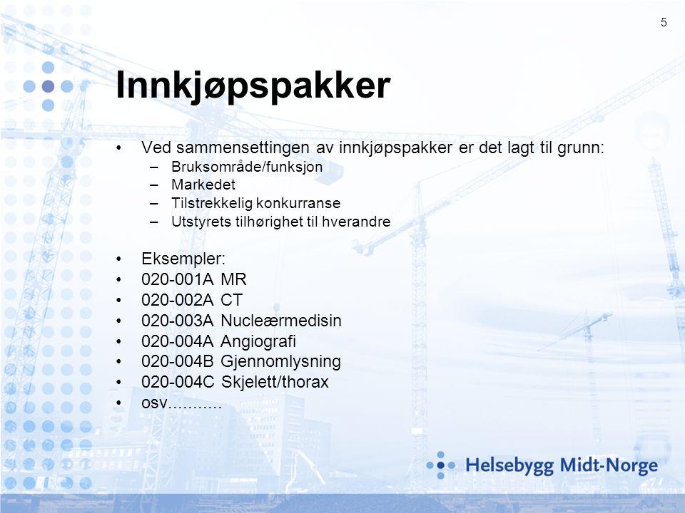 Innkjøpspakker Ved sammensettingen av innkjøpspakker er det lagt til grunn: Bruksområde/funksjon. Markedet.