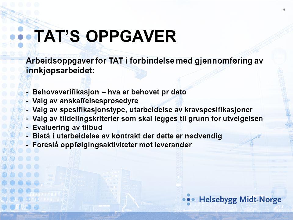TAT'S OPPGAVER Arbeidsoppgaver for TAT i forbindelse med gjennomføring av innkjøpsarbeidet: - Behovsverifikasjon – hva er behovet pr dato.