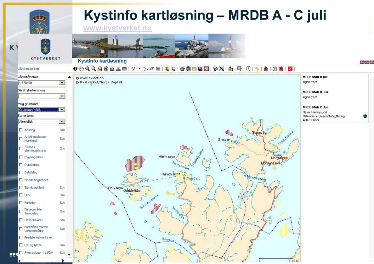 Kystinfo kartløsning – MRDB A - C juli www.kystverket.no