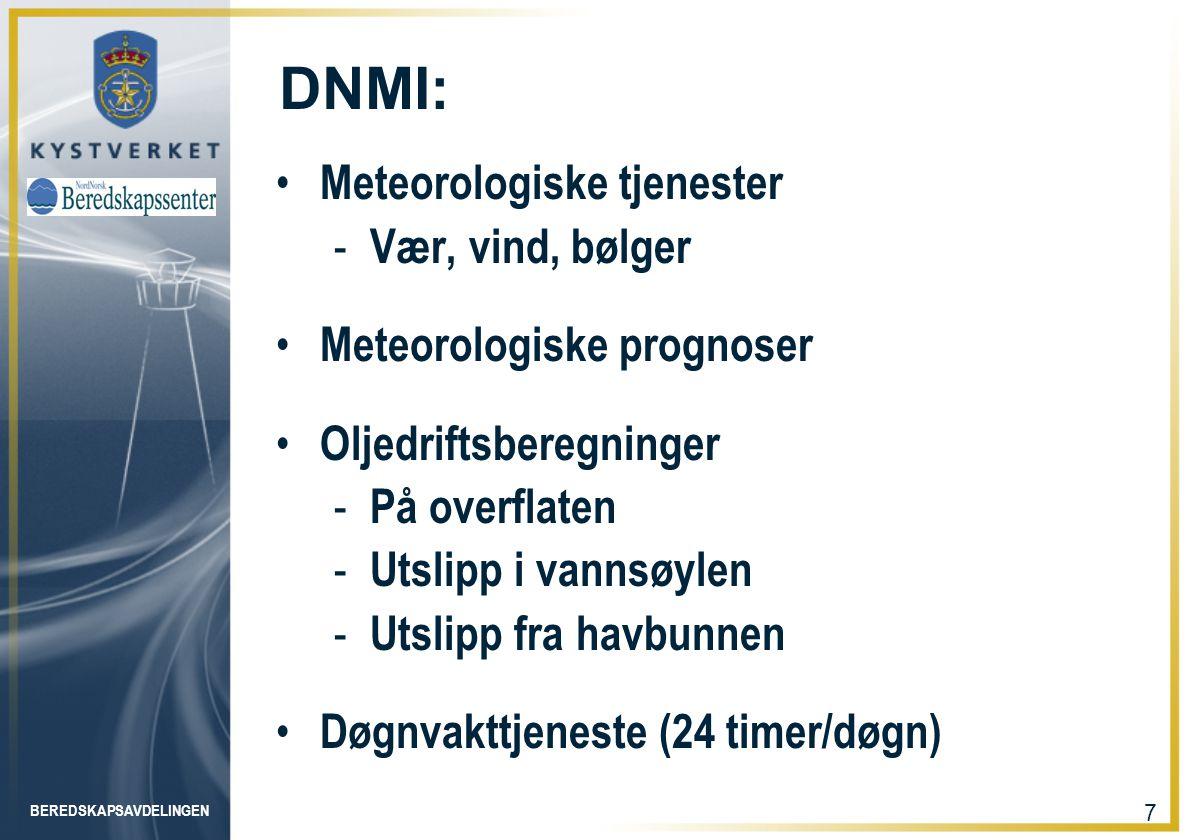 DNMI: Meteorologiske tjenester Vær, vind, bølger