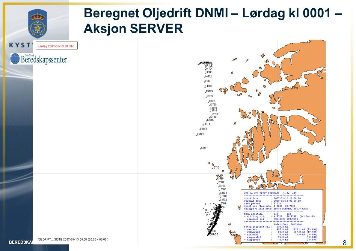 Beregnet Oljedrift DNMI – Lørdag kl 0001 – Aksjon SERVER