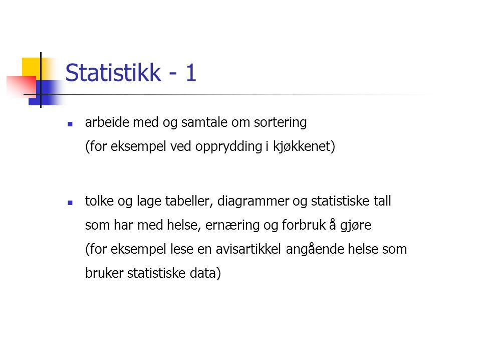 Statistikk - 1 arbeide med og samtale om sortering (for eksempel ved opprydding i kjøkkenet)