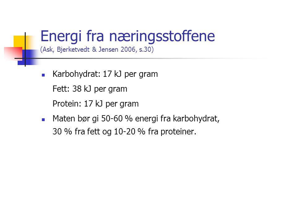 Energi fra næringsstoffene (Ask, Bjerketvedt & Jensen 2006, s.30)
