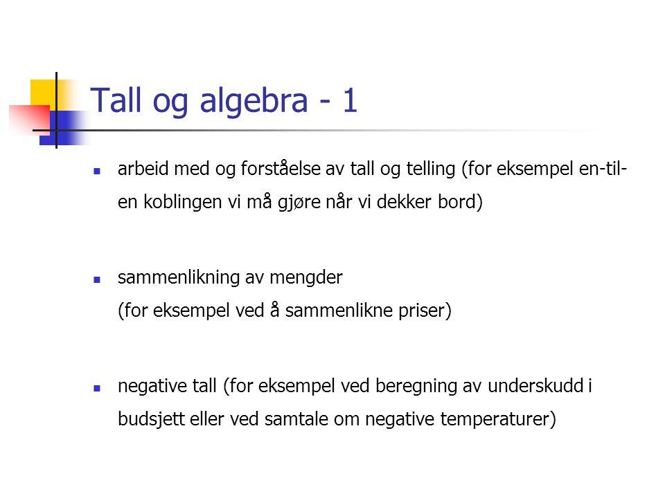 Tall og algebra - 1 arbeid med og forståelse av tall og telling (for eksempel en-til-en koblingen vi må gjøre når vi dekker bord)