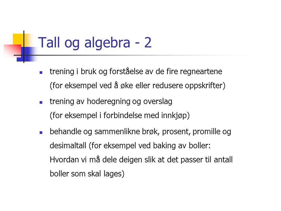 Tall og algebra - 2 trening i bruk og forståelse av de fire regneartene (for eksempel ved å øke eller redusere oppskrifter)