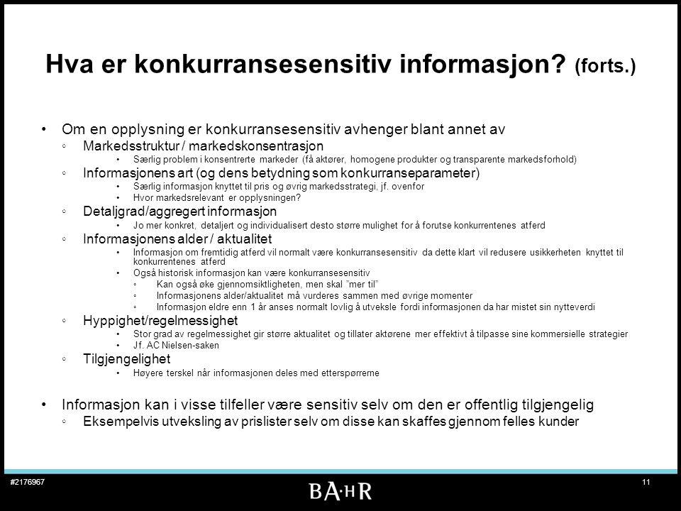 Hva er konkurransesensitiv informasjon (forts.)