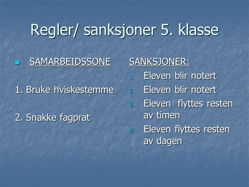 Regler/ sanksjoner 5. klasse