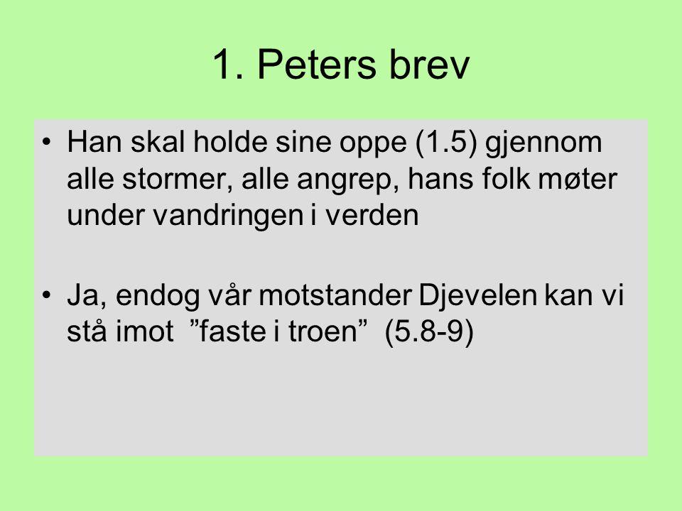 1. Peters brev Han skal holde sine oppe (1.5) gjennom alle stormer, alle angrep, hans folk møter under vandringen i verden.