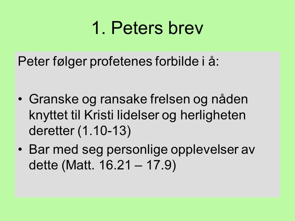 1. Peters brev Peter følger profetenes forbilde i å: