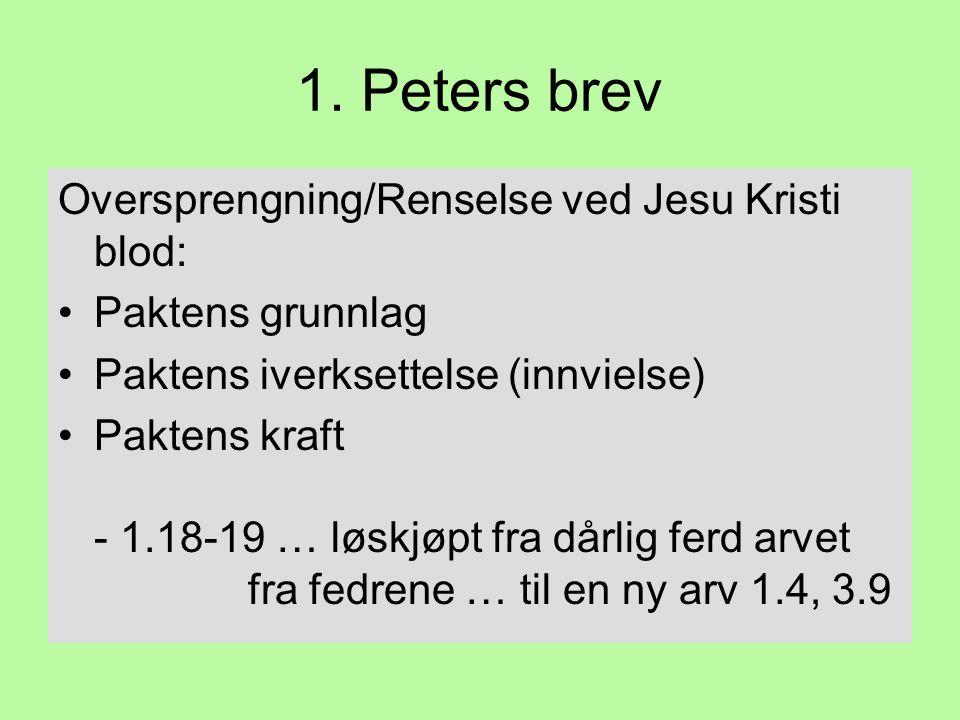 1. Peters brev Oversprengning/Renselse ved Jesu Kristi blod: