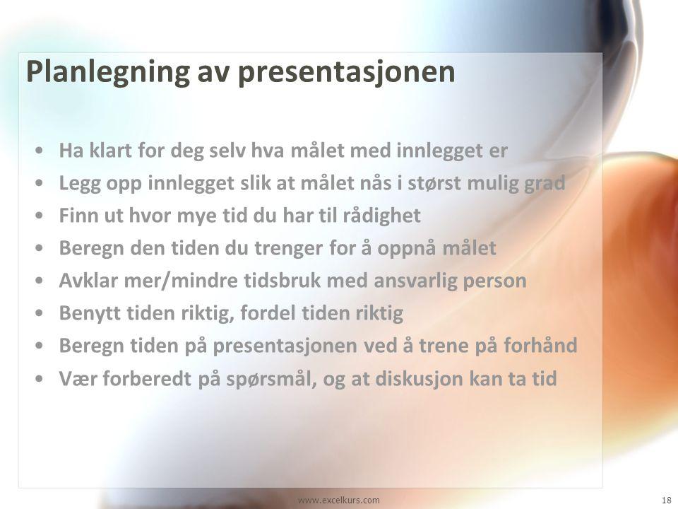 Planlegning av presentasjonen