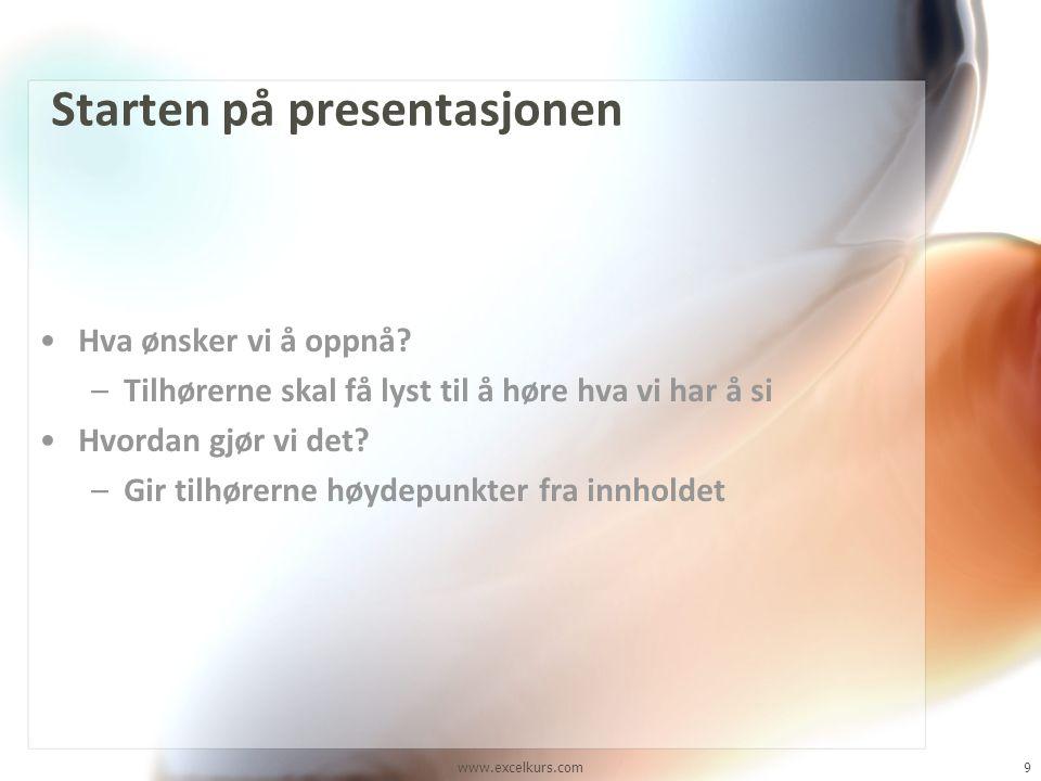 Starten på presentasjonen