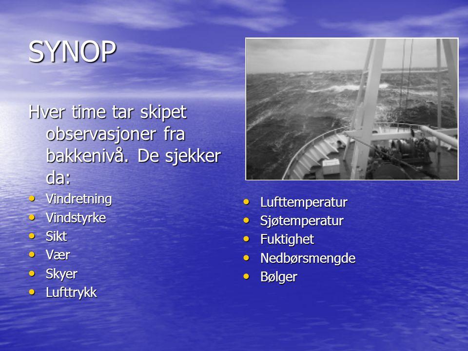 SYNOP Hver time tar skipet observasjoner fra bakkenivå. De sjekker da: