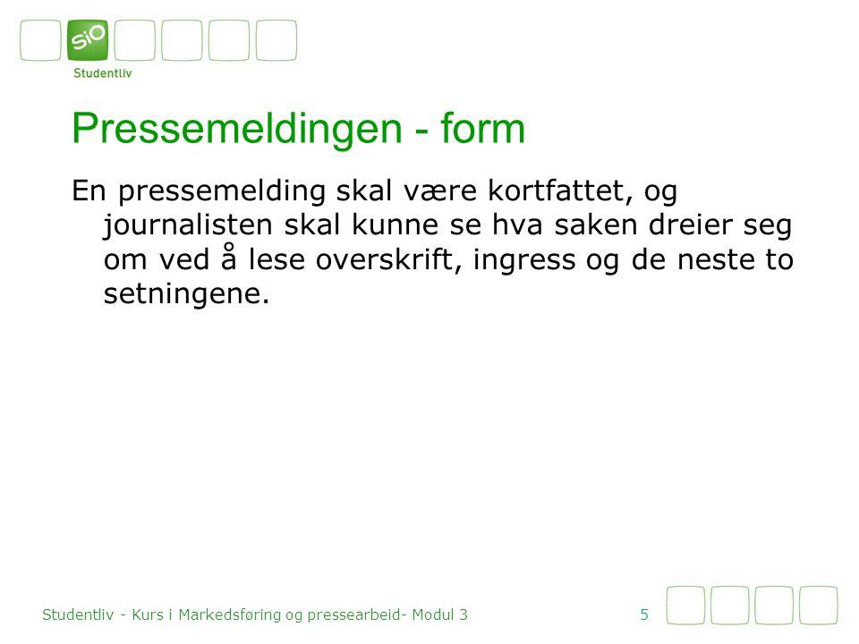 Pressemeldingen - form
