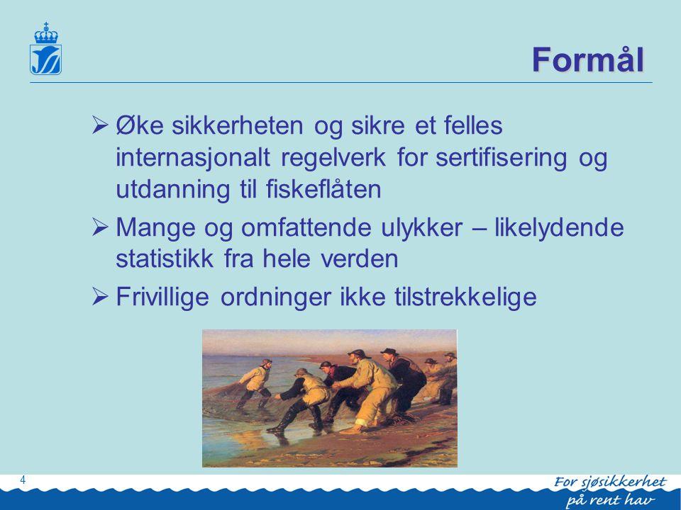 Formål Øke sikkerheten og sikre et felles internasjonalt regelverk for sertifisering og utdanning til fiskeflåten.