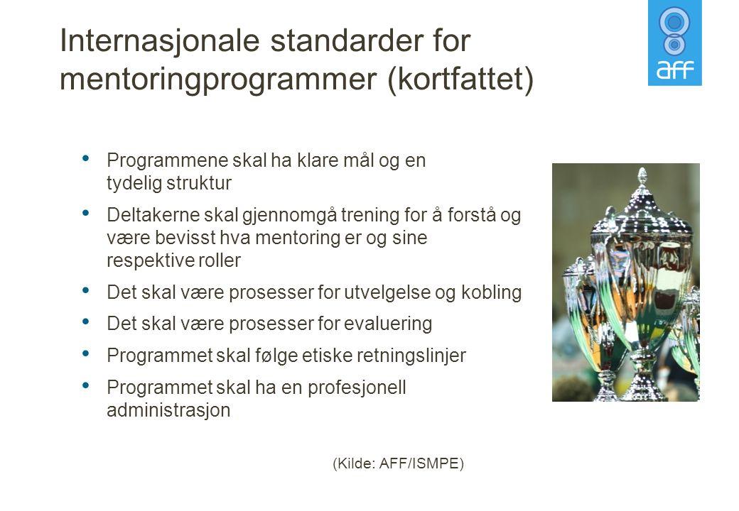 Internasjonale standarder for mentoringprogrammer (kortfattet)
