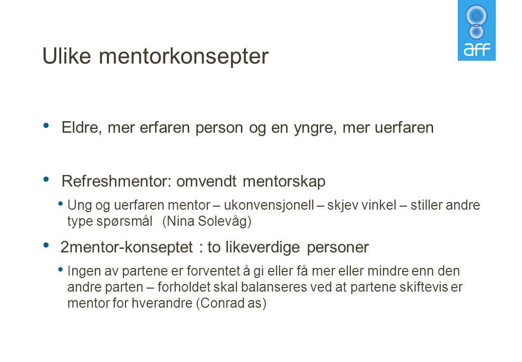 Ulike mentorkonsepter