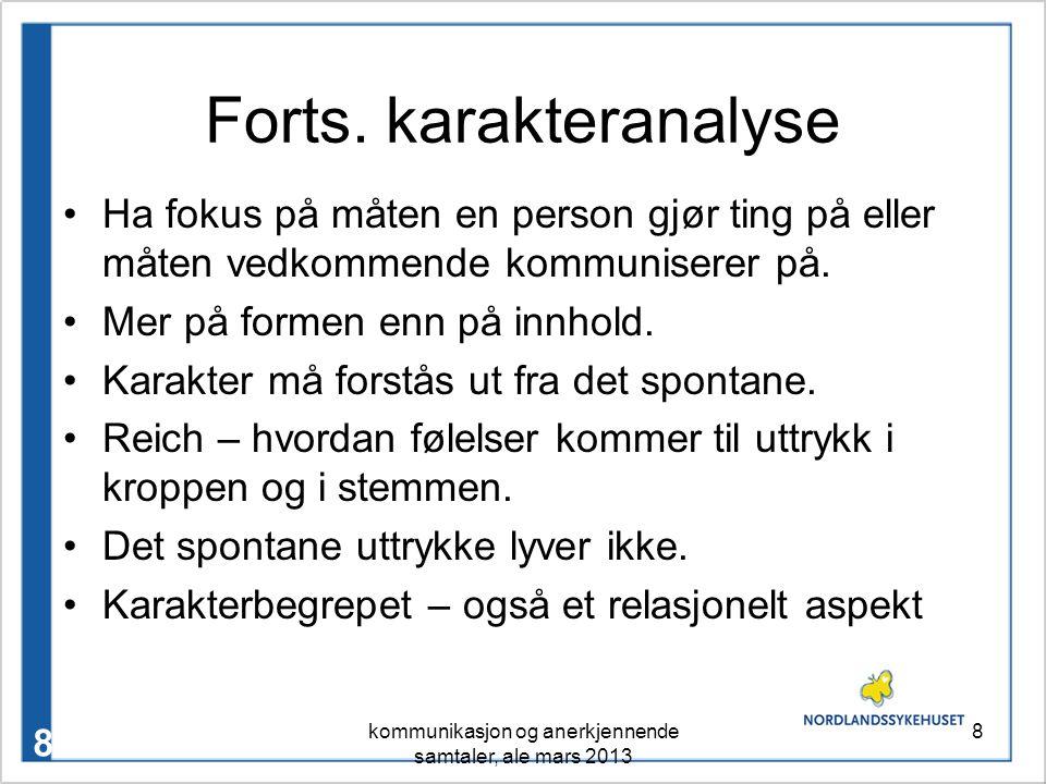 Forts. karakteranalyse