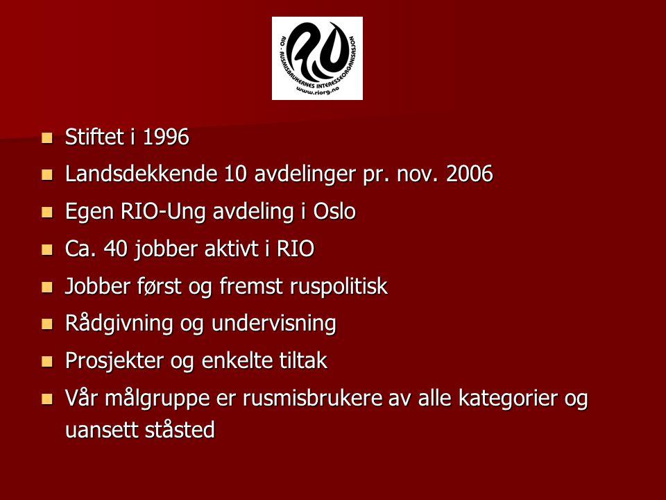 Stiftet i 1996 Landsdekkende 10 avdelinger pr. nov. 2006. Egen RIO-Ung avdeling i Oslo. Ca. 40 jobber aktivt i RIO.