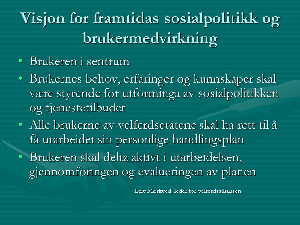 Visjon for framtidas sosialpolitikk og brukermedvirkning