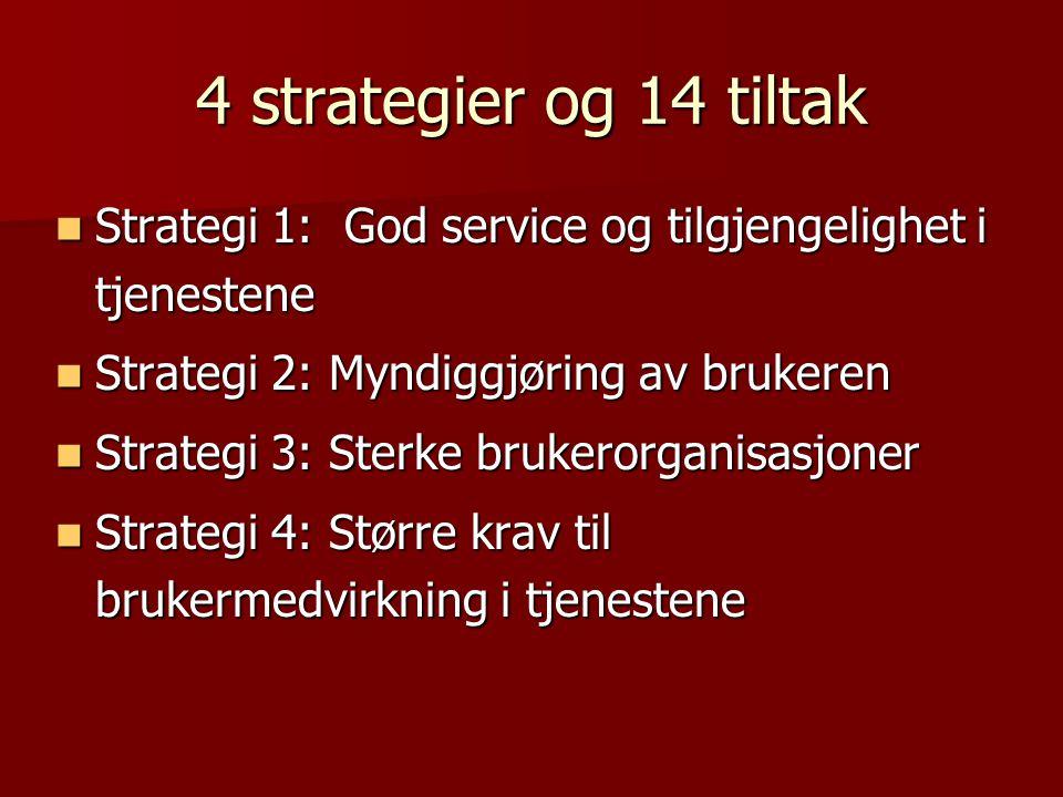 4 strategier og 14 tiltak Strategi 1: God service og tilgjengelighet i tjenestene. Strategi 2: Myndiggjøring av brukeren.