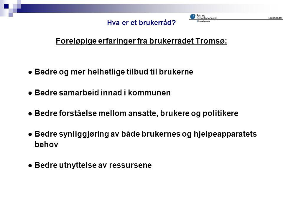 Foreløpige erfaringer fra brukerrådet Tromsø: