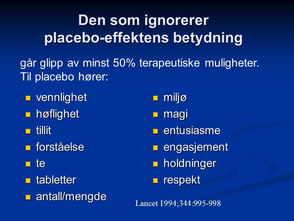 Den som ignorerer placebo-effektens betydning