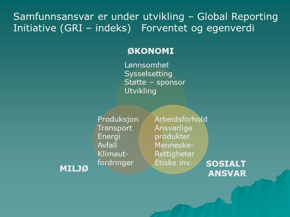Samfunnsansvar er under utvikling – Global Reporting Initiative (GRI – indeks) Forventet og egenverdi