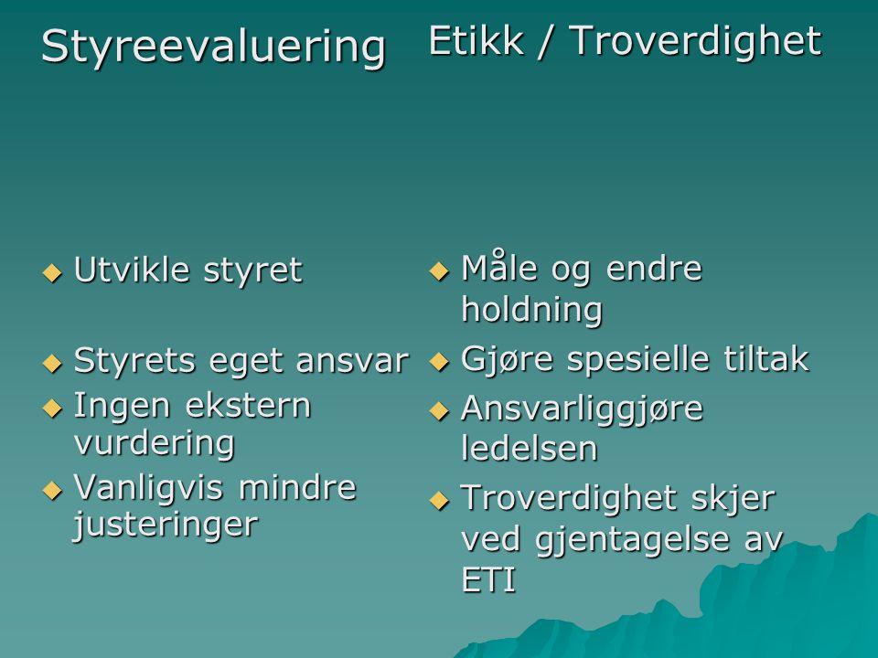 Styreevaluering Etikk / Troverdighet Måle og endre holdning