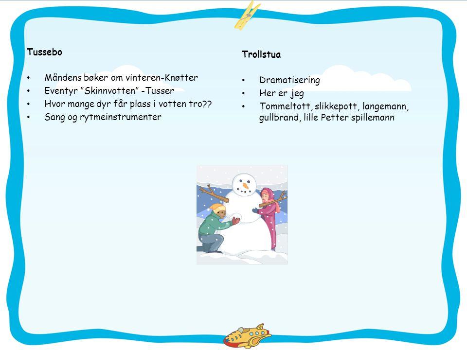 Tussebo Måndens bøker om vinteren-Knøtter. Eventyr Skinnvotten -Tusser. Hvor mange dyr får plass i votten tro