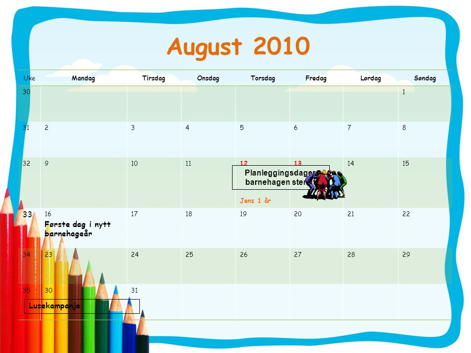 Planleggingsdager barnehagen stengt