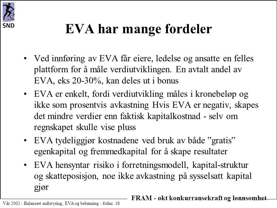 EVA har mange fordeler