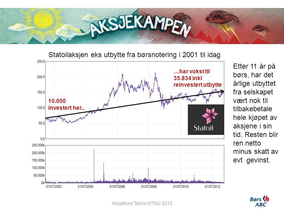 Statoilaksjen eks utbytte fra børsnotering i 2001 til idag